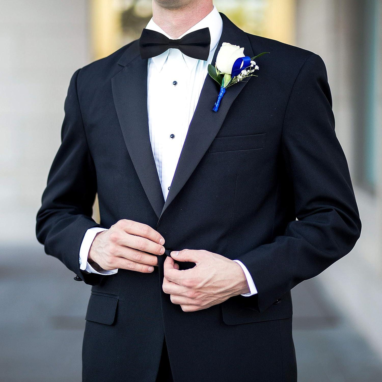 Wirarpa Mens Pre-tied Bow Tie Formal Solid Tuxedo Clip On Bowtie Adjustable Length Black Large