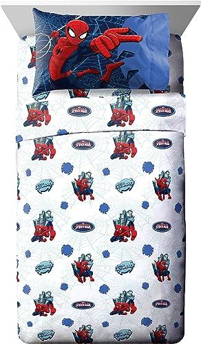 Marvel Spiderman Astonish 3 Piece White Blue Twin Sheet Set