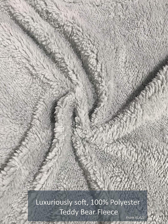 Funda de Almohada de Forro Polar dise/ño de Oso de Peluche Color Gris Plateado KLAZE