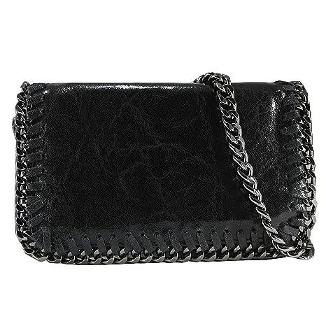 4809037e969 FERETI bolso negro de cuero bandolera con cadena  Amazon.es  Equipaje