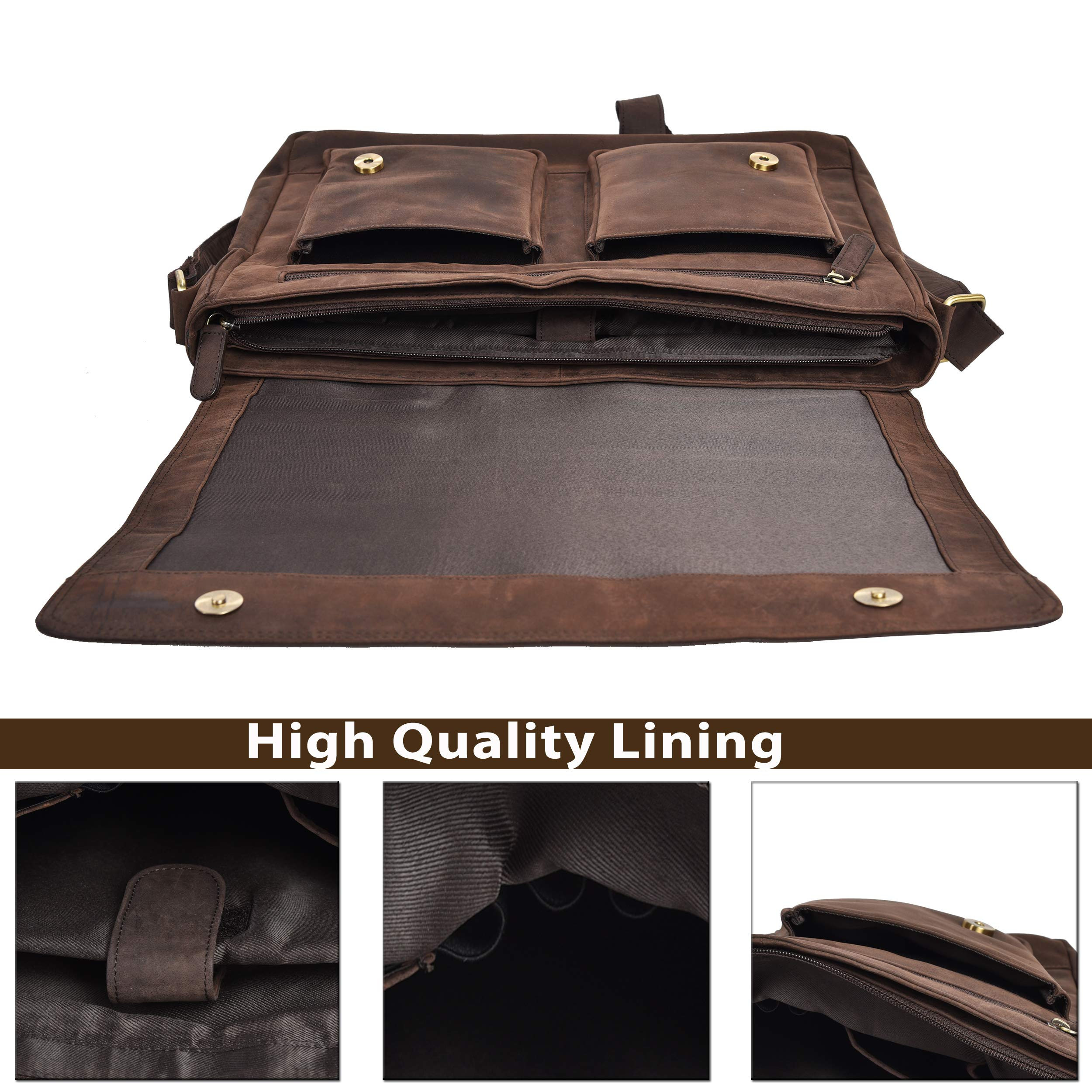 Leather Messenger Bag for Men & Women 14inch laptop Bag for Travel College Work - Handmade by LEVOGUE (Brown Oily Hunter) by LEVOGUE (Image #6)