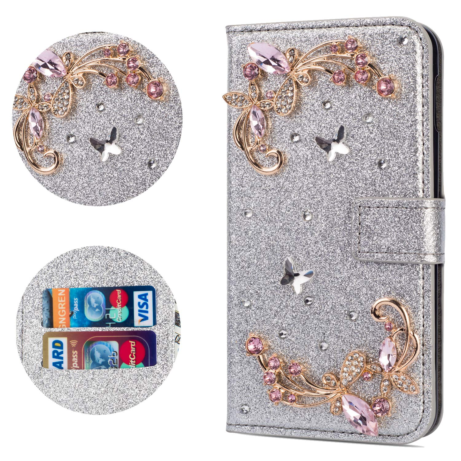 Stysen Flip Case for iPhone Xs Max 6.5'',Leather Cover with 3D Handmade Crystal Diamonds Butterfly Glitter Floral Wallet Magnetic Clasp for iPhone Xs Max 6.5'' by Stysen