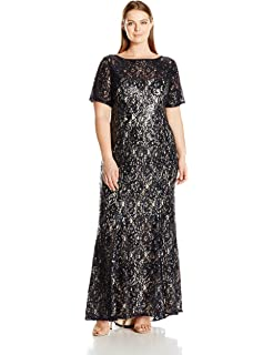 a42d75e2a204 Adrianna Papell Women s Plus Size Short Sleeve Sequin Lace Mermaid Gown  (Womans)