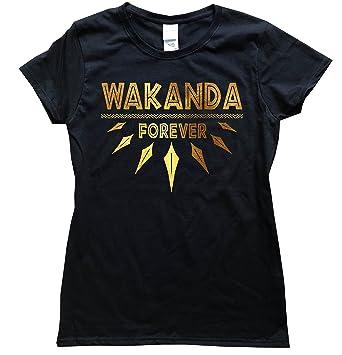 6848daa8ec7ee iApparel Wakanda Forever Gold Foil Women Black Shirt