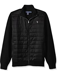 U.S. Polo Assn. Mens Quilted Nylon Full Zip Sweater Cardigan Sweater