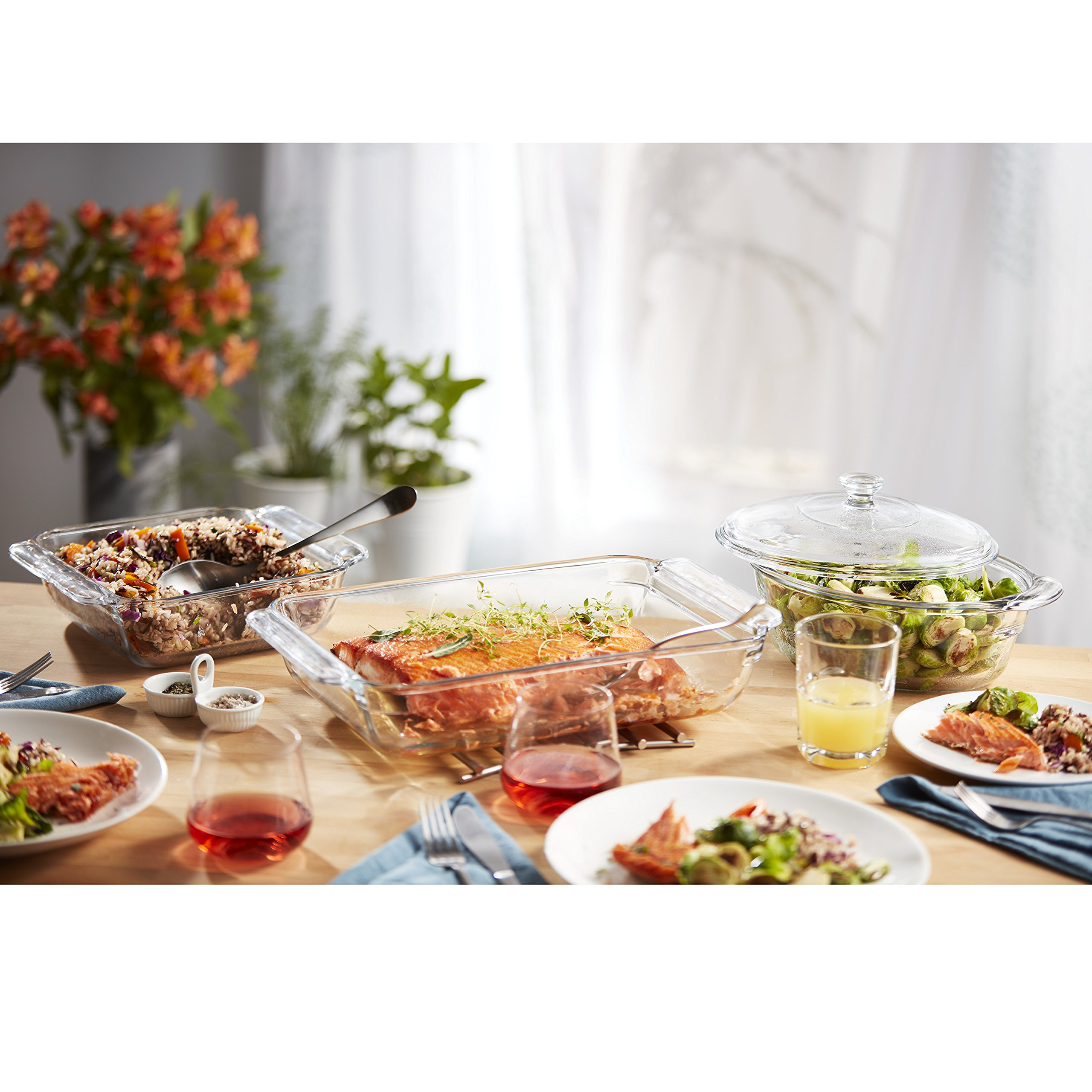 Libbey Baker's Premium 6-Piece Glass Casserole Baking Dish Set with 2 Covers by Libbey (Image #1)