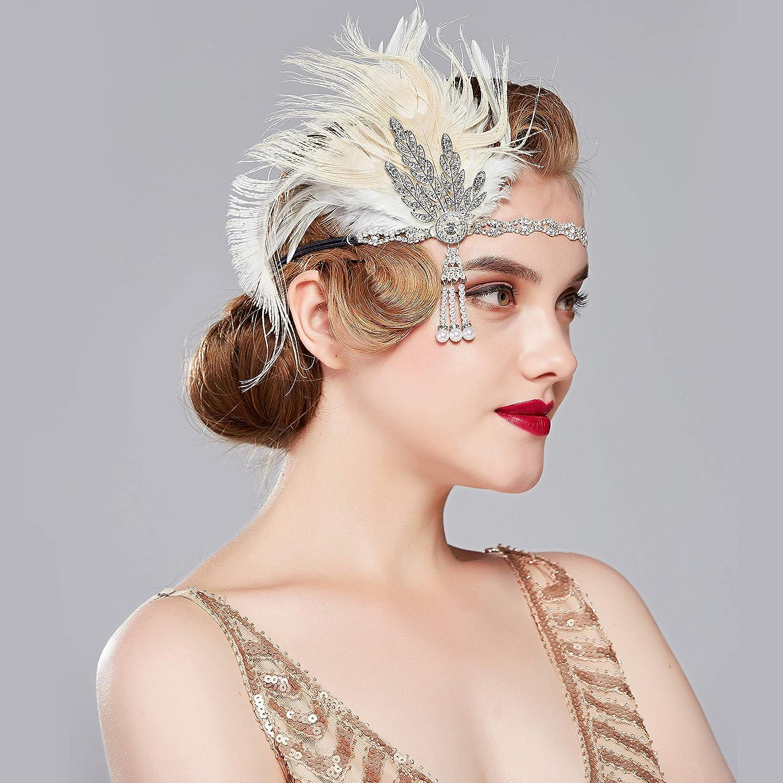 accessori costumi stile Charleston Fascia per capelli con piume e strass modello da donna stile anni 20 Coucoland