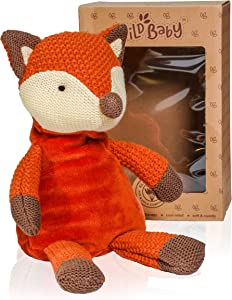 """WILD BABY Microwavable Plush Pal - Cozy Heatable Weighted Stuffed Animal with Aromatherapy Lavender Scent, 12"""" Fox"""