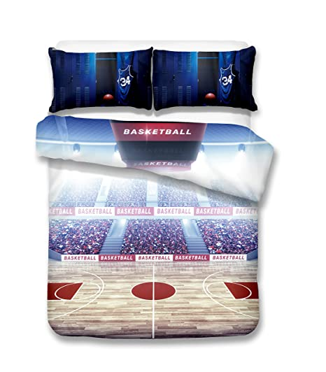 Basketball Court Under The Spotlight 3d Bedding Set Print Duvet