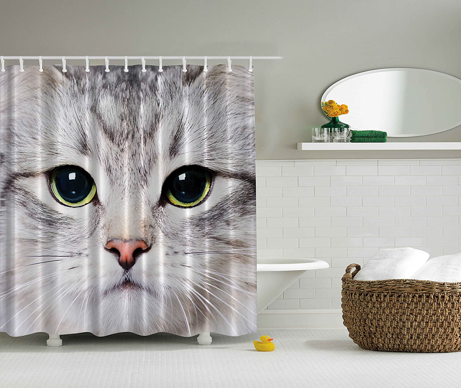Kraken shower curtain - Amazon Com Cat Shower Curtain By Ambesonne Decorations Gray Cute Cat Print Kitten Kitty Closeup Portrait Picture Digital Photography Lovely Pet Bathroom