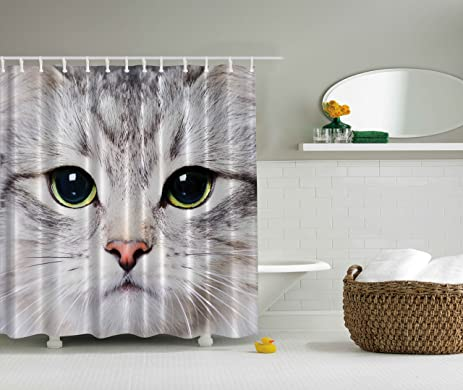 Cat Shower Curtain By Ambesonne Decorations Gray Cute Print Kitten Kitty Closeup Portrait Picture Digital