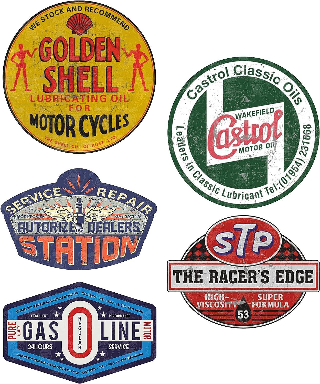 Mg616 Aufkleber Set Gasoline Breite Je Ca 6 5cm Shell Stp Hot Rod Shop Sticker Retro Oil Vintage Oldtimer Old School Auto