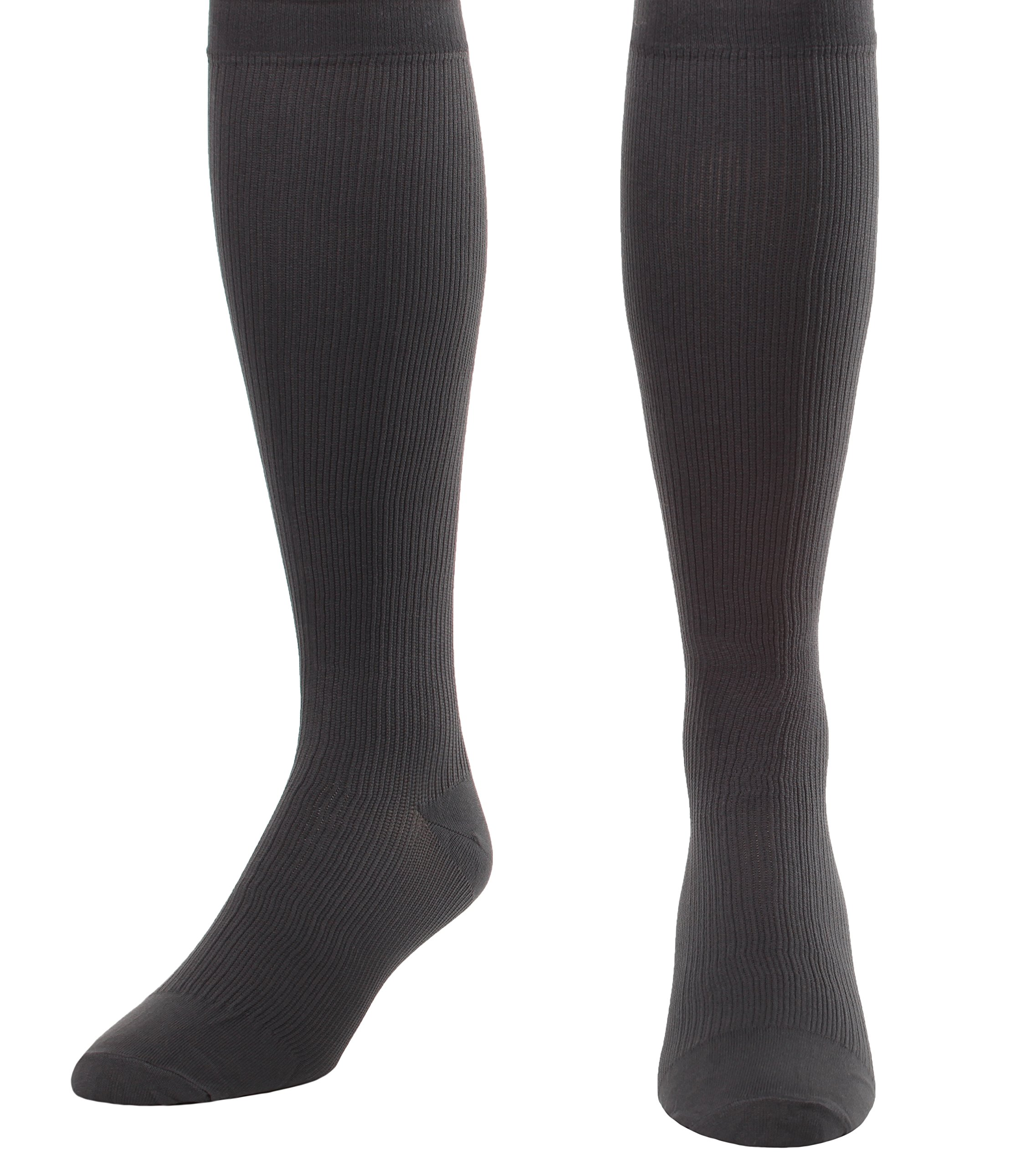 Made in The USA - Medical Compression Socks for Men, Firm Graduated Support Socks 20-30mmHg - Closed Toe - 1 Pair - Absolute Support, SKU: A104GR3 (Grey, Large) - Helps with Poor Circulation, Edema