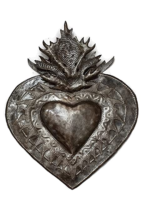 Amazon.com: Flaming Heart Wall Decor, Erzulie, Home Metal Art From ...