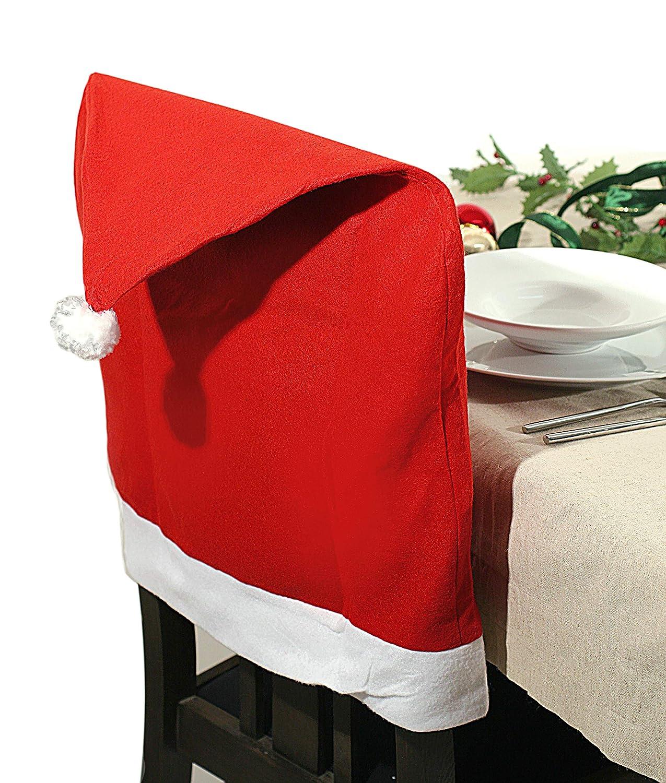 6er Set Stuhlhusse Überzug Stuhlüberzug Stuhl Husse rot für Weihnachten Advent Überzieher Stuhl Deko Dekoration