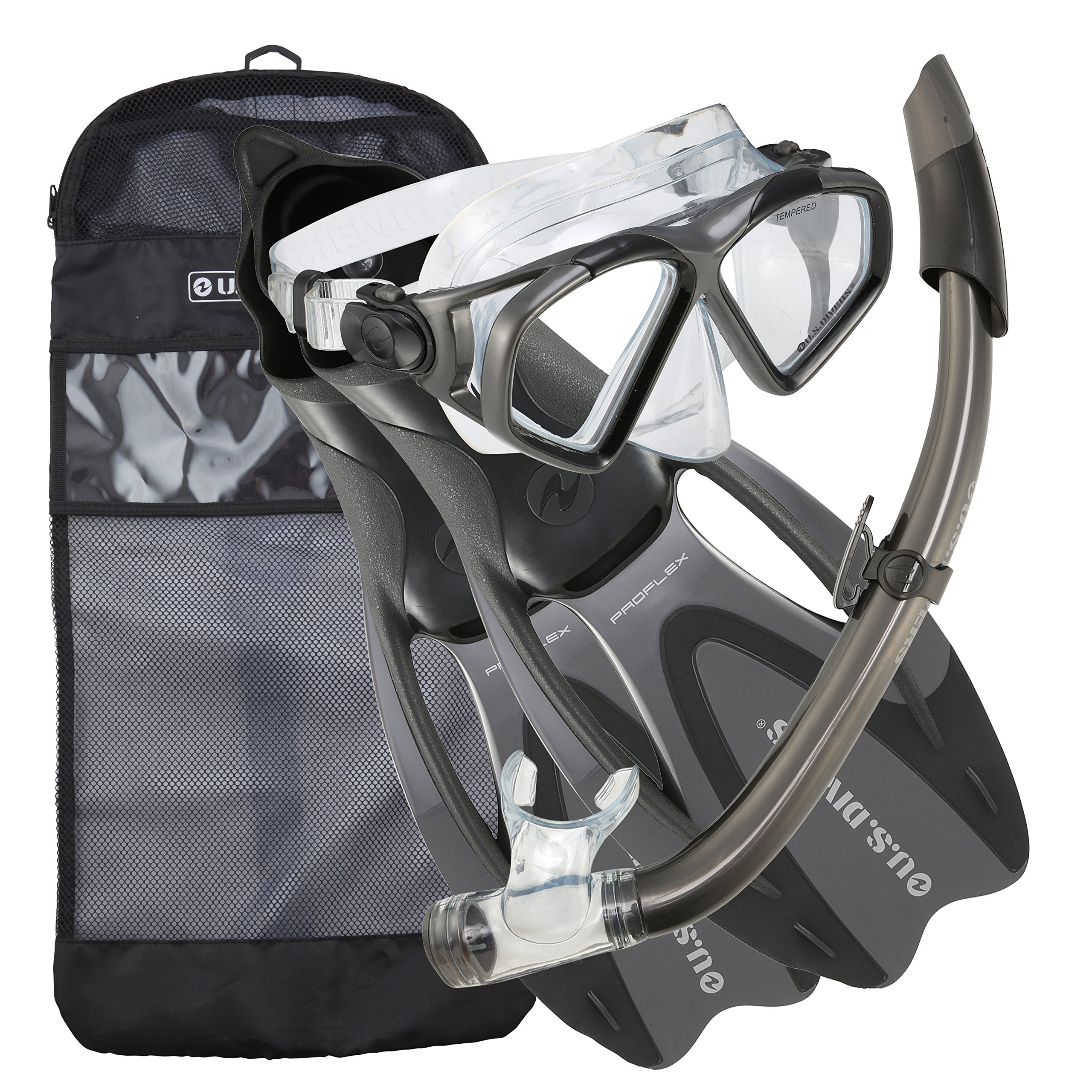 U.S. Divers Cozumel Snorkeling Set - Adult Mask, Proflex Fins, Splash Guard Snorkel + Gear Bag by U.S. Divers