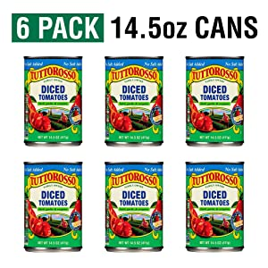 Tuttorosso No Salt Added Diced Canned Tomatoes with Basil, Garlic & Oregano, 14.5oz Can (Pack of 6)