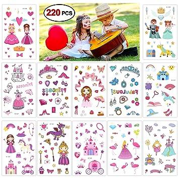 Konsait Princesa niña Tatuajes Temporales niños, 220 Surtidos Castillo Unicornio Tatuajes temporales Pegatinas para Niñas Infantiles Fiesta de ...