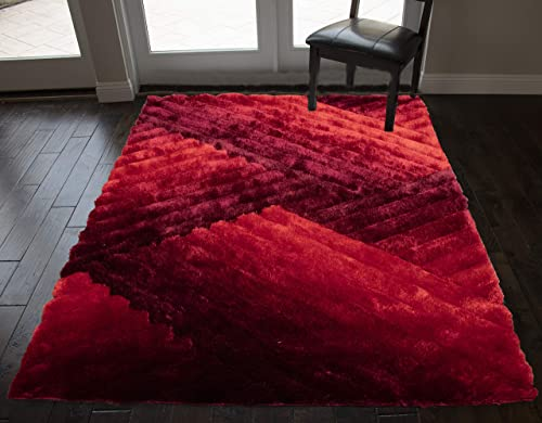 8x10 Feet Dark Red Light Red Color Large Shag Shaggy 3D Fuzzy Furry Area Rug Carpet Rug Bedroom Living Room Decorative Designer Modern Contemporary Soft Plush Pile Canvas Non Slip Backing Quality