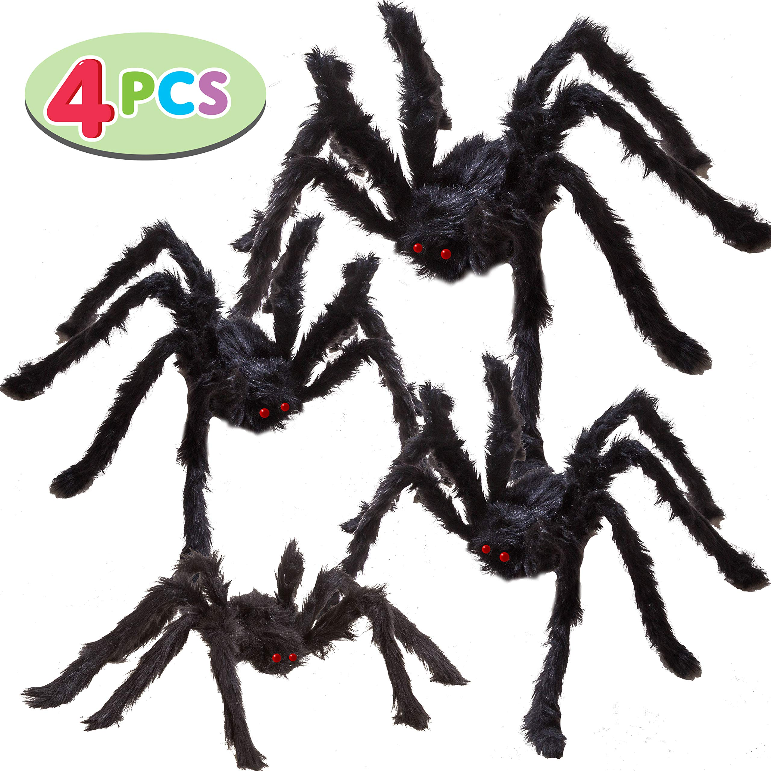 Four Halloween Realistic Hairy Spiders Set, Valuable Halloween Props, Halloween Spider Set for Indoor and Outside Decorations (One 47.25'', Two 35.5'', and One 29.5'') by JOYIN
