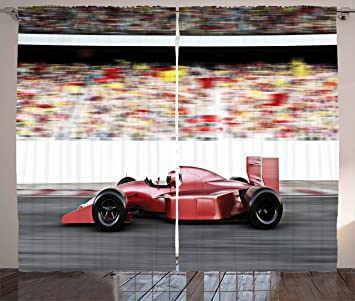 Ambesonne Cars Curtains By Motor Sports Red Race Car Side View On A Track Leading
