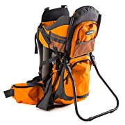 Luvdbaby Premium Baby Backpack Carrier Hiking Kids – Carry Your Child Ergonomically (Orange/Grey)