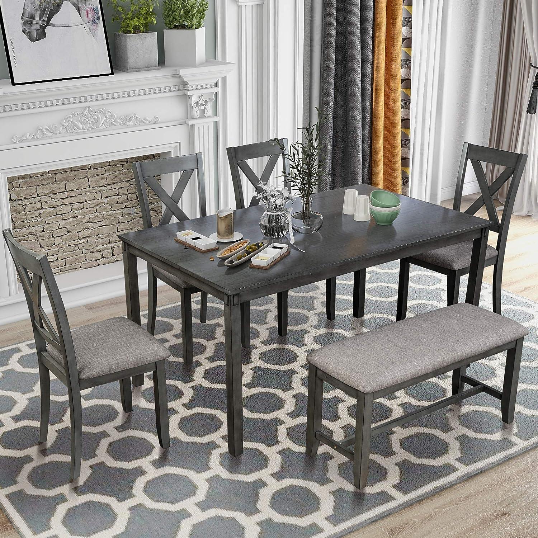 LUMISOL Dining Table Set, 6 Piece Wood Kitchen Table Set Dining Dinette Table Chairs & Bench Set