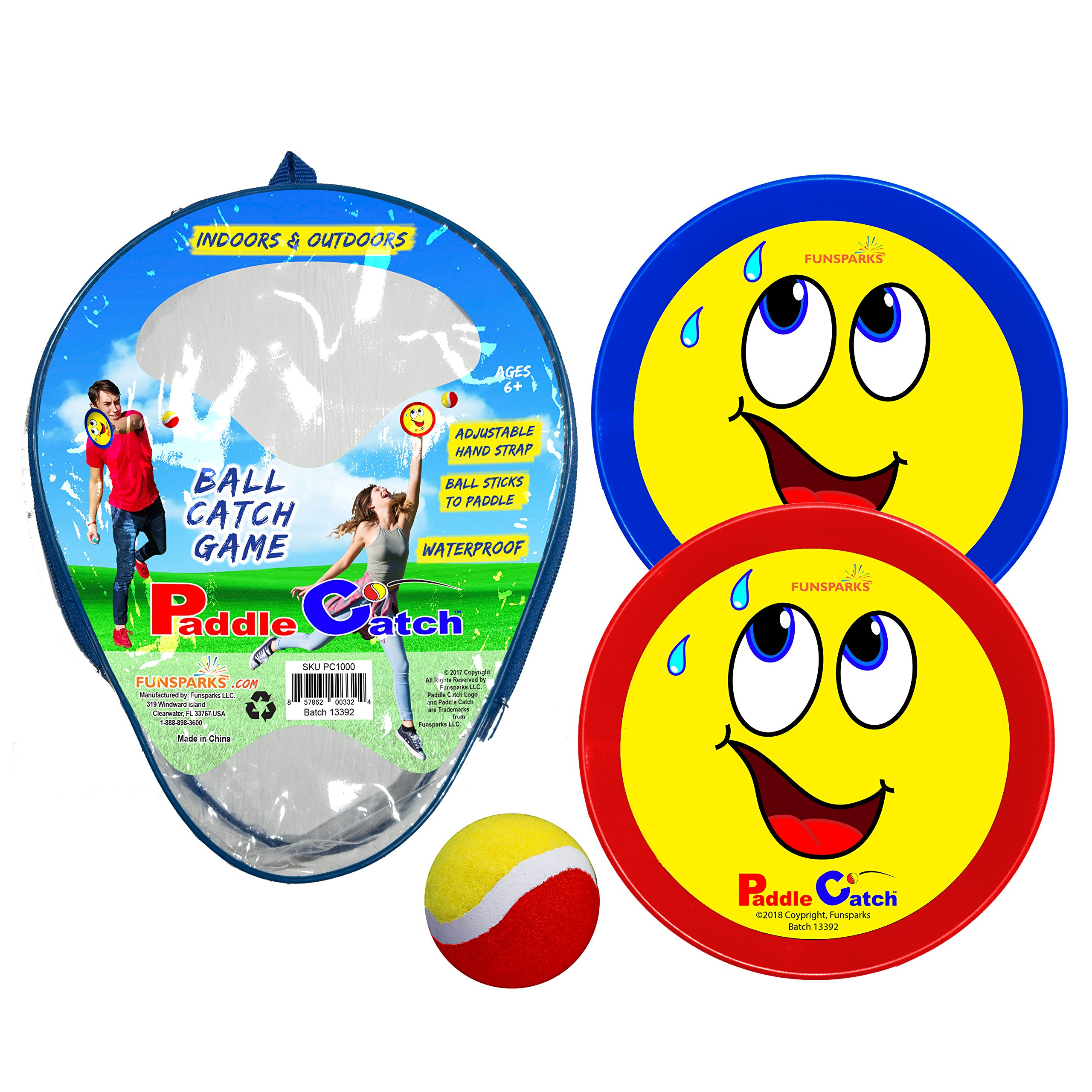 Funsparks Paddle Catch Game - Ball Toss Toy with 2 Adjustable Disc's and 1 Ball