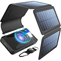 BLAVOR Solar Charger Five Panels Detachable, Qi Wireless Charger 20000mAh Portable Power Bank with Dual Output Type C…