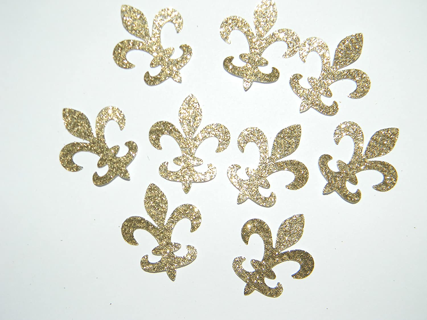 100 gold glitter fleur de lis die cuts confetti party decorations