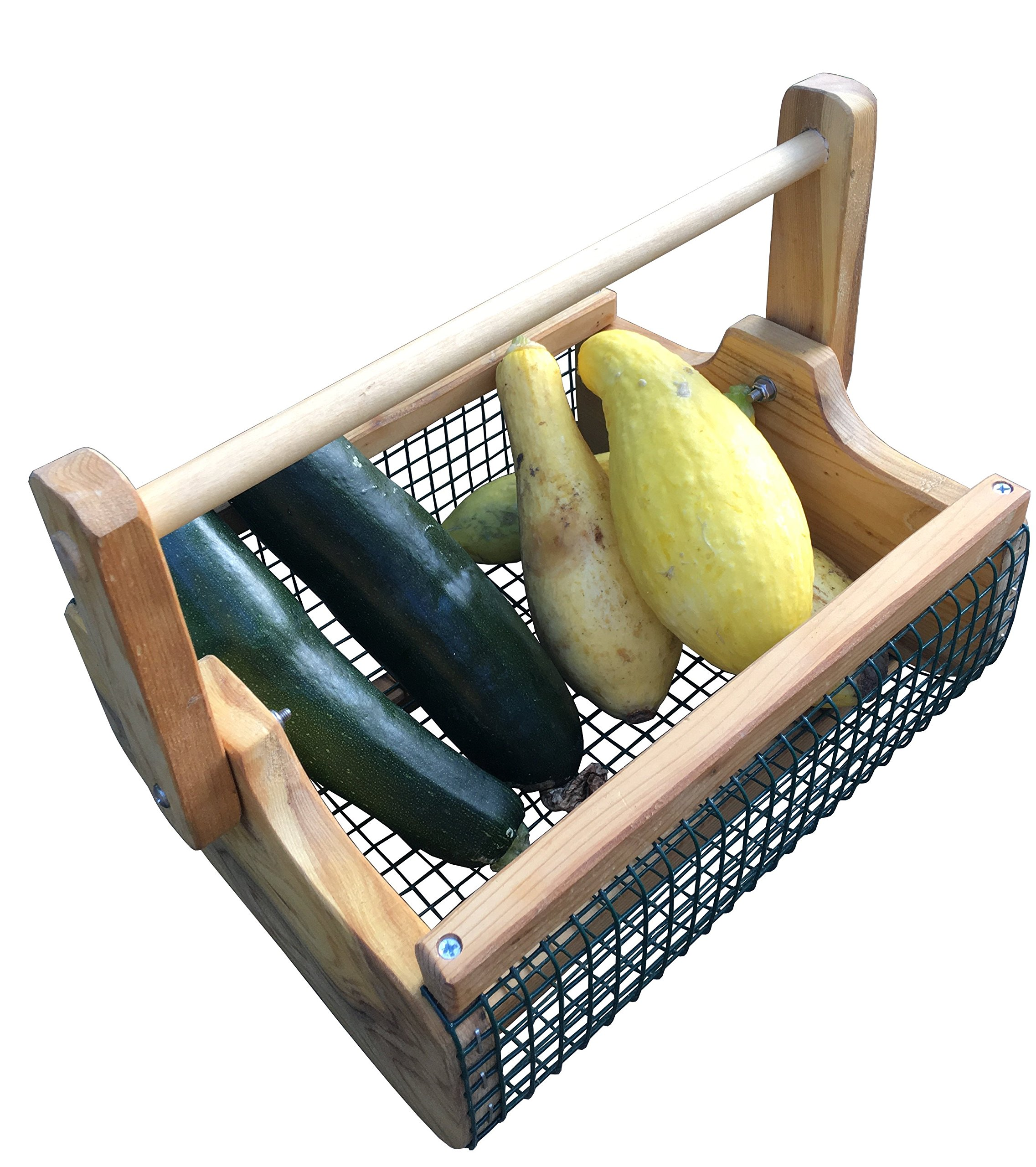 Fairfield Garden Products Large Harvest Fruit Basket | Rust Proof Wire Mesh With Folding Handle | Cedar Garden Hod To Carry & Rinse Fresh Vegetables, As Picnic Basket, Magazine Or Towel Holder by Fairfield Garden Products