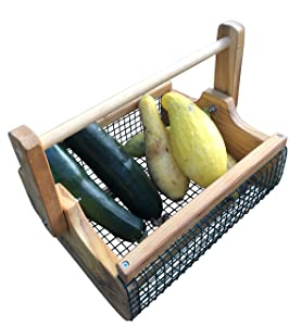 Fairfield Garden Products Large Harvest Fruit Basket | Rust Proof Wire Mesh With Folding Handle | Cedar Garden Hod To Carry & Rinse Fresh Vegetables, As Picnic Basket, Magazine Or Towel Holder