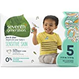 Seventh Generation Baby Diapers, Free and Clear for Sensitive Skin, with Animal Prints, Size 5, 115 Count (Packaging May Vary)