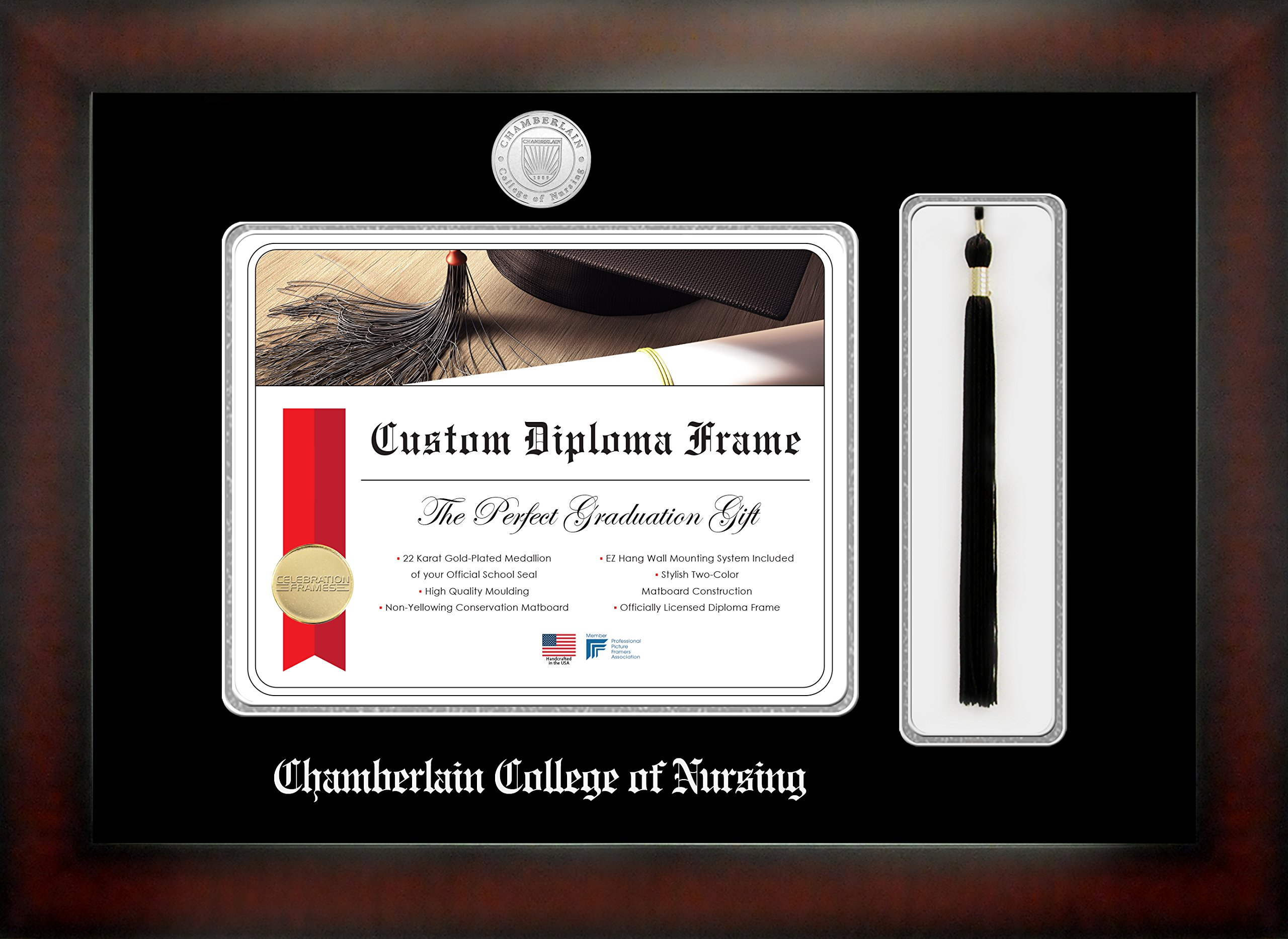 Chamberlain College of Nursing 8½ x 11 Mahogany Finish Infinity Diploma Frame with Tassel Box by Celebration Frames