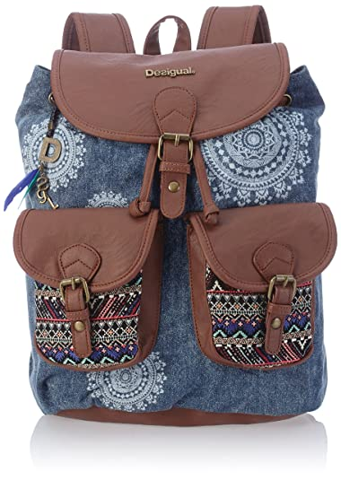 Desigual Dakar African Art Womens Backpack Handbags Blue Jeans
