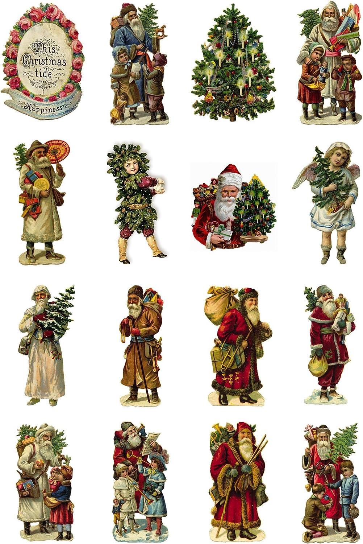 "Decoupage Paper Pack (10sheets A4 / 8""x12"") Vintage Christmas Santa Tree FLONZ Vintage Ephemera"