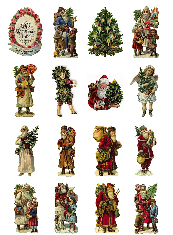 Decoupage Paper Pack (10sheets A4/8x12) Vintage Christmas Santa Tree FLONZ Vintage Ephemera