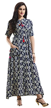 164b35e648 Rosaniya Fully Stitched Printed Cotton A Line Maxi Dress for Women  (MUS9104)