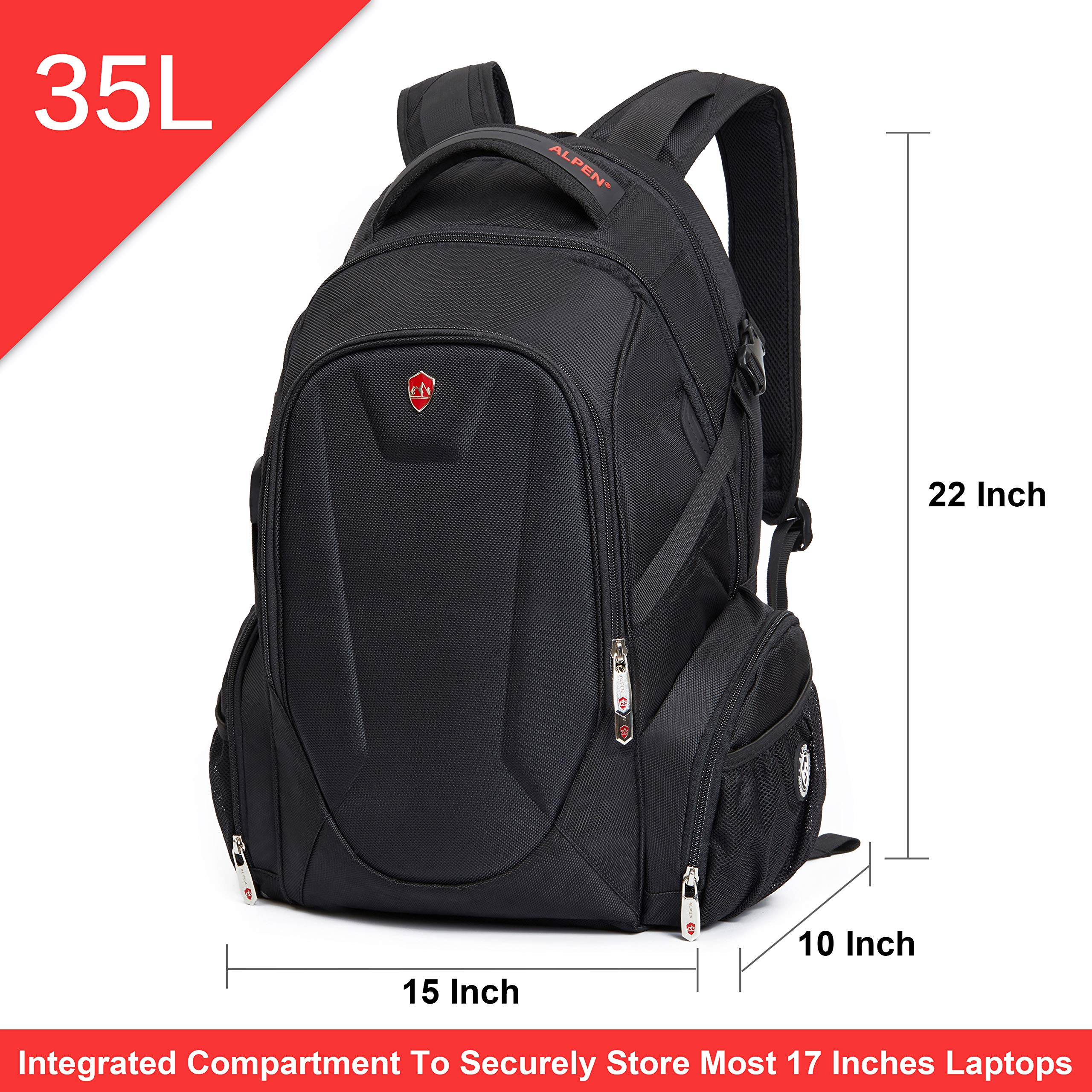 Swiss Alpen - Blanc Backpack - Water Resistant Durable 1680D Large Laptop Backpack for Travel, School & Business - Fits 15.6'' Laptop with USB Charging Port - Black Exclusive by Swiss Alpen (Image #2)