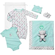 Baby Starters 6-Piece Neutral Bear Layette Set with Blanket, Bodysuit, Gown, More