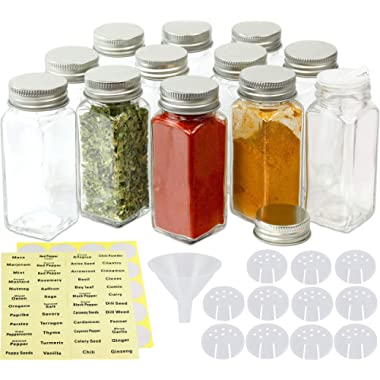 SimpleHouseware 12 Square Spice Bottles (4oz) w/label Set