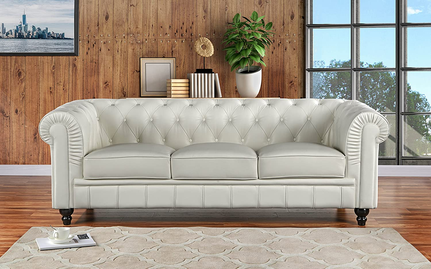 amazon com divano roma furniture classic scroll arm leather match rh amazon com white chesterfield sofa living room white chesterfield sofa leather