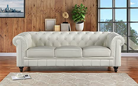 Divano Roma Furniture Classic Scroll Arm Leather Match Chesterfield Sofa  (Off-White)