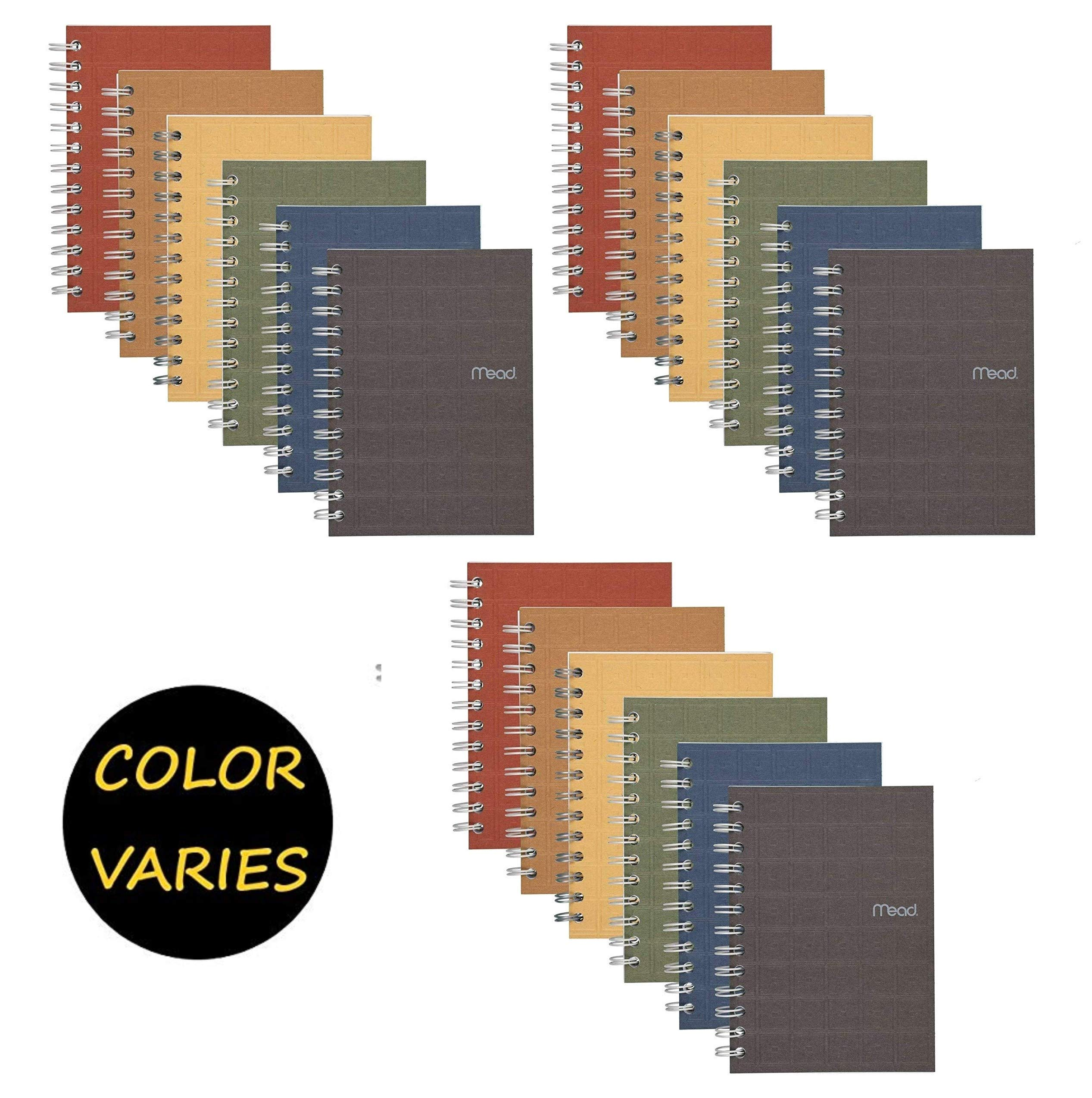 Mead Spiral Notebook, College Ruled Paper, 80 Sheets, 7'' x 5'', Recycled, Assorted Colors, 18 Pack (45186) by Mead