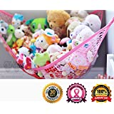 MiniOwls Toy Storage Hammock X-Large Organizer in PINK, Best De-cluttering Solution & Inexpensive Idea for Every Room at Home or Facility - 3% is Donated to Cancer Foundation (pink, xl)