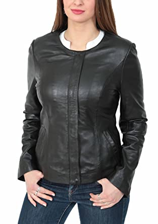 71e7f8db0 Real Leather Collarless Jacket for Women Tailored Cut Slim Fit Ladies Coat  Moreno Black
