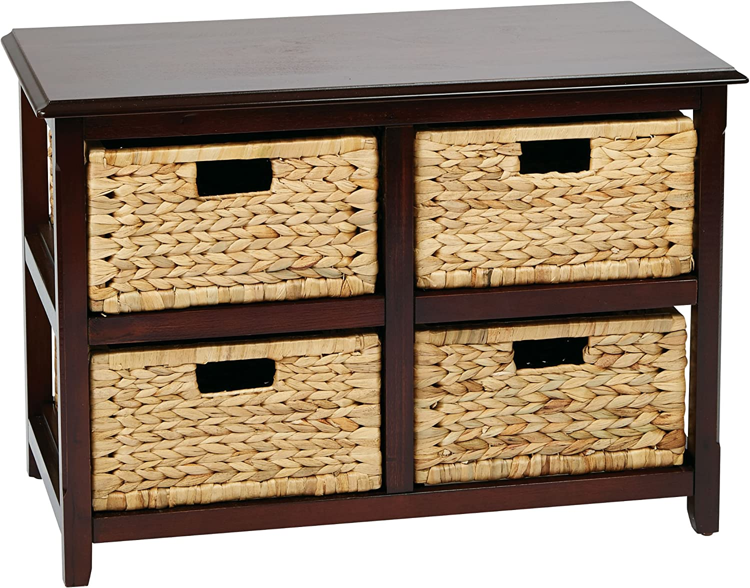 OSP Home Furnishings Seabrook 2-Tier, 4-Drawer Storage Unit with Natural Baskets, Espresso