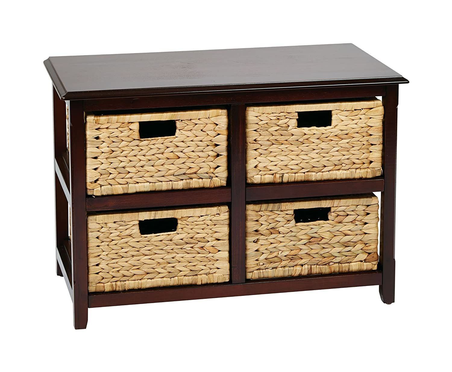 Beau Amazon.com: Office Star Seabrook 2 Tier, 4 Drawer Storage Unit With Natural  Baskets, Espresso Finish: Kitchen U0026 Dining