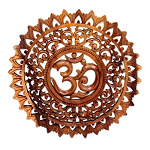 NOVICA Handcrafted Buddhism Flower and Om Brown Wood Mandala Relief Panel Wall Art, Lotus Om'