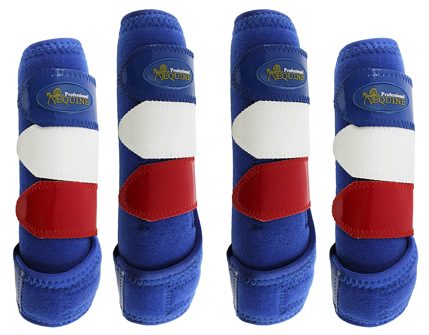 (Medium-Front and Rear Splint, bluee Red White) Horse Medium Professiona Equine Sports Medicine Boots 4142-57